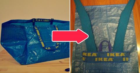 How To Transform A Ikea Bag Into A Backpack