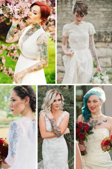 39efd3c578 10 Women Who Showed Off Their Tattoos With Their Wedding Dresses