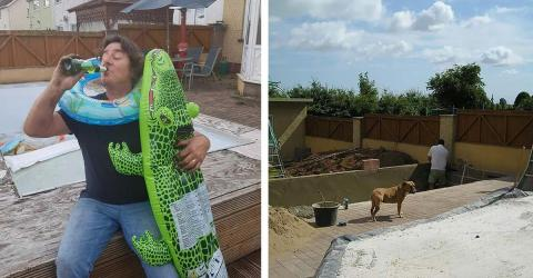This Grandad Dug A Hole In His Garden Whilst Drunk, Then Turned It Into A Swimming Pool