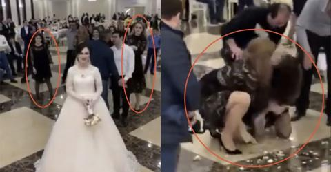 Shock Moment Singletons GRAPPLE To The Floor For Wedding Bouquet As Guests Watch On
