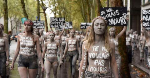 Femen Activists Dressed Up Like Zombies And Hit The Streets Of Paris