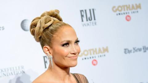 Jennifer Lopez Looked Amazing In This Black Shoulder Pad Plunge Neck Bodysuit!